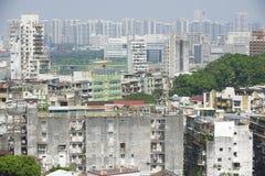 Εξωτερικό των στο κέντρο της πόλης κατοικημένων κτηρίων του Μακάο στο Μακάο, Κίνα Στοκ Εικόνες