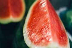 Εξωτικά τροπικά φρούτα, επίδειξη φρούτων καρπουζιών στη φρέσκια αγορά Στοκ Φωτογραφίες