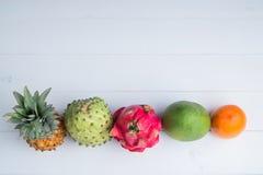 Εξωτικά φρέσκα θερινά φρούτα στο άσπρο υπόβαθρο Τα φρούτα δράκων, ανανάς, persimmon, μάγκο, επίπεδο cherimola annona βρέθηκαν στοκ εικόνες