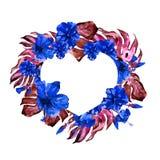 Εξωτική καρδιά συνόρων λουλουδιών και φύλλων Στοκ φωτογραφία με δικαίωμα ελεύθερης χρήσης