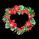 Εξωτική καρδιά συνόρων λουλουδιών και φύλλων Στοκ εικόνες με δικαίωμα ελεύθερης χρήσης