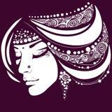 Εξωτική σκιαγραφία του προσώπου γυναικών διανυσματική απεικόνιση