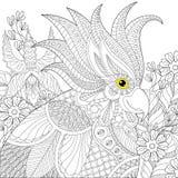 Εξωτικός παπαγάλος cockatoo zentangle για τον ενήλικο αντι χρωματισμό πίεσης ελεύθερη απεικόνιση δικαιώματος