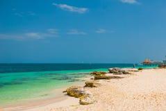 Εξωτικός παράδεισος θέρετρο τροπικό Καραϊβική θάλασσα, Cancun Παραλία του Μεξικού τροπική στις Καραϊβικές Θάλασσες στοκ εικόνα
