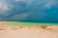 Εξωτικός παράδεισος θέρετρο τροπικό Καραϊβική θάλασσα, Cancun Παραλία του Μεξικού τροπική στις Καραϊβικές Θάλασσες στοκ φωτογραφία