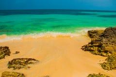 Εξωτικός παράδεισος θέρετρο τροπικό Καραϊβικός λιμενοβραχίονας θάλασσας κοντά σε Cancun Παραλία του Μεξικού τροπική στοκ εικόνες