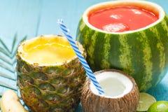 Εξωτικός πρόσφατα συμπιεσμένος χυμός με τον ανανά, το καρπούζι και την καρύδα στοκ εικόνα