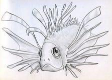 Εξωτικό δηλητηριώδες σκίτσο ψαριών Στοκ Εικόνες