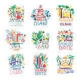 Εξωτικό νησιών σύνολο λογότυπων θερινών διακοπών ζωηρόχρωμο απεικόνιση αποθεμάτων