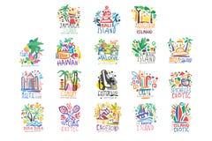 Εξωτικό νησιών σύνολο λογότυπων θερινών διακοπών ζωηρόχρωμο διανυσματική απεικόνιση