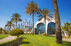 Εξωτικό πάρκο με τους φοίνικες και τους ουρανοξύστες μαρινών του Ντουμπάι πολυτέλειας, Ντουμπάι, Ηνωμένα Αραβικά Εμιράτα στοκ φωτογραφία