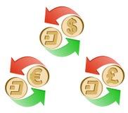 Εξόρμηση ανταλλαγής στην ευρο- και βρετανικής λίβρα δολαρίων, απεικόνιση αποθεμάτων