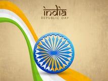 Εορτασμοί ημέρας Δημοκρατίας με τη ρόδα Ashoka και τα εθνικά κύματα tricolor απεικόνιση αποθεμάτων