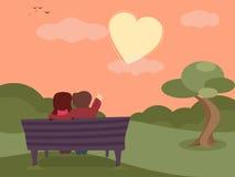 Εορτασμοί ημέρας του ευτυχούς βαλεντίνου με το χαριτωμένο ζεύγος διανυσματική απεικόνιση