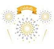 Εορτασμοί και συγχαρητήρια πυροτεχνημάτων διανυσματική απεικόνιση