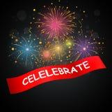 Εορτασμοί με τα πυροτεχνήματα ελεύθερη απεικόνιση δικαιώματος