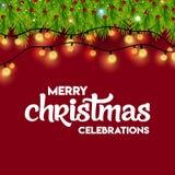 Εορτασμοί Χαρούμενα Χριστούγεννας που ανάβουν το υπόβαθρο με Bokeh ελεύθερη απεικόνιση δικαιώματος