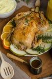 Εορτασμός - γεμισμένο κοτόπουλο ψητού με τα χορτάρια Στοκ Εικόνες