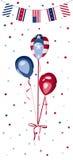 Εορτασμός εθνικής εορτής μπαλονιών αμερικανικών σημαιών Στοκ Εικόνες