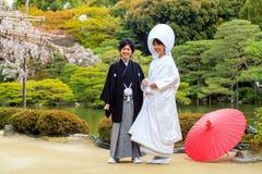 Εορτασμός ενός χαρακτηριστικού γάμου στην Ιαπωνία Στοκ φωτογραφίες με δικαίωμα ελεύθερης χρήσης
