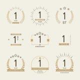 Εορτασμός επετείου ενός έτους logotype 1$η συλλογή λογότυπων επετείου Στοκ φωτογραφίες με δικαίωμα ελεύθερης χρήσης