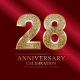 Εορτασμός επετείου logotype 28ο λογότυπο επετείου αριθμοί disco διανυσματική απεικόνιση