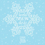 Εορτασμός ημέρας παγκόσμιου χιονιού Υπόβαθρο χειμερινών χιονοπτώσεων απεικόνιση αποθεμάτων