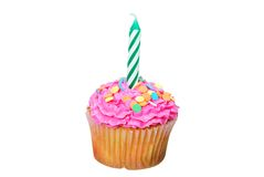 εορτασμός κεριών cupcake Στοκ Εικόνα