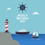 Εορτασμός παγκόσμιας θαλάσσιος ημέρας διανυσματική απεικόνιση