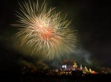 Εορτασμός πυροτεχνημάτων στο βασιλικό πάρκο Rajapruek, Chiangmai, Thailan Στοκ Φωτογραφία