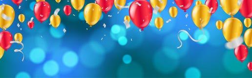 Εορτασμός στιλπνά χρυσά και κόκκινα μπαλόνια με το σκούρο μπλε υπόβαθρο διακοπών με ζωηρόχρωμο να λάμψει bokeh και serpentine απεικόνιση αποθεμάτων