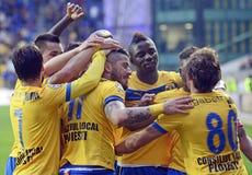 Εορτασμός στόχου ποδοσφαίρου Στοκ εικόνες με δικαίωμα ελεύθερης χρήσης