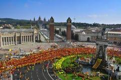 Εορτασμός της εθνικής μέρας της Καταλωνίας στη Βαρκελώνη, Ισπανία Στοκ φωτογραφία με δικαίωμα ελεύθερης χρήσης