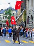 Εορτασμός της ελβετικής εθνικής μέρας στη Ζυρίχη, Ελβετία Στοκ Εικόνες