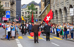 Εορτασμός της ελβετικής εθνικής μέρας στη Ζυρίχη, Ελβετία Στοκ εικόνες με δικαίωμα ελεύθερης χρήσης