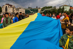 Εορτασμός της ημέρας της κρατικής σημαίας της Ουκρανίας σε Uzhgorod Στοκ Φωτογραφίες