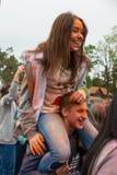 Εορτασμός του ινδικού φεστιβάλ των χρωμάτων και της άνοιξη Holi στο πάρκο του Γκόρκυ Στοκ εικόνα με δικαίωμα ελεύθερης χρήσης