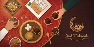 Εορτασμός του Μουμπάρακ Eid με το παραδοσιακό γεύμα απεικόνιση αποθεμάτων
