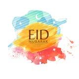 Εορτασμός του Μουμπάρακ Eid με το φεγγάρι και τα αστέρια διανυσματική απεικόνιση
