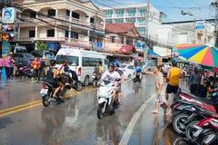 Εορτασμός του φεστιβάλ Songkran, το ταϊλανδικό νέο έτος σε Phuket Στοκ Φωτογραφίες