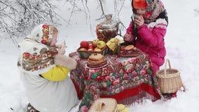 Εορτασμός των διακοπών καρναβάλι στη φύση απόθεμα βίντεο