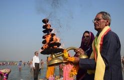 Εορτασμός φεστιβάλ dussehra Ganga σε Allahabad Στοκ Φωτογραφίες