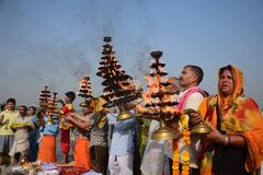 Εορτασμός φεστιβάλ dussehra Ganga σε Allahabad Στοκ Φωτογραφία
