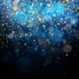 Εορτασμός Χριστουγέννων ή αφηρημένη έννοια Ακτινοβολώντας αστέρια στο σκοτεινό υπόβαθρο 10 eps διανυσματική απεικόνιση