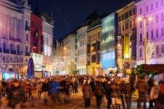Εορτασμός Χριστουγέννων στο Μπρνο το βράδυ Στοκ φωτογραφία με δικαίωμα ελεύθερης χρήσης