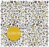 Εορτασμός, doodles χρόνια πολλά στοιχεία Στοκ φωτογραφίες με δικαίωμα ελεύθερης χρήσης