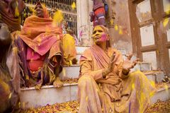 Εορτασμός Holi σε Vrindavan στοκ εικόνες