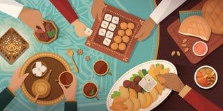 Εορτασμός Ramadan με το παραδοσιακό γεύμα Iftar ελεύθερη απεικόνιση δικαιώματος