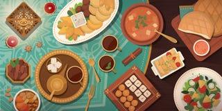 Εορτασμός Ramadan με το παραδοσιακό γεύμα Iftar απεικόνιση αποθεμάτων
