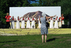 Εορτασμός Sabantui στη Μόσχα Τραγουδιστές στη σκηνή Στοκ εικόνα με δικαίωμα ελεύθερης χρήσης